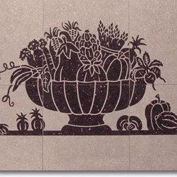 6 Piece Vegetable Basket Mural - Design: 6 Piece Vegetable Basket Mural