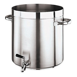 "Paderno World Cuisine - ""Grand Gourmet"" Stainless-steel 74-Quart Stockpot with Faucet - This 74-quart stainless-steel stockpot with faucet has a diameter and height of 17-3/4-in. The Grand Gourmet series boasts an outer and inner satin polish and a mirror-finish along the edges. It is ideal for making soup, as the equal lengths of its diameter and height limit evaporation. Its stainless steel handles are hollow and tubular for an ergonomic shape that also allows for a stay-cool feature. The line has a sandwich, thermo-radiant bottom (stainless steel/aluminum/stainless steel) that is concave when cold and flat when hot, making it perfect for use on any type of stove, whether gas, electric, glass ceramic or induction. Made in Italy by Paderno. NSF approved. Limited Lifetime Warranty. Lid not included."