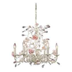 Elk Lighting - Elk Lighting Heritage 1 Tier Chandelier in Cream - Shown in picture: this series is a tribute to England's first porcelain manufacturers dating back to the mid-18th century. Factories of the time developed product for the aristocratic market. Although many are no longer in operation - the techniques used then still apply today of hand working molds and patterns. The strength and non-porous nature of porcelain allow intricate details and shapes as evidenced in the exquisite flowers accenting this series. This collection has crystal accents and intertwined branches finished in deep rust or cream.