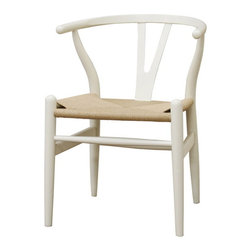 Baxton Studio - Baxton Studio Wishbone Chair - Ivory Wood Y Chair - This dining chair features traditional wood and is paired with a modern design, resulting in a unique piece for your home. The frame consists of solid wood with an ivory white coat finish, a comfortably-curved backrest, and sturdy natural unfinished hemp seat. This item will arrive fully assembled.