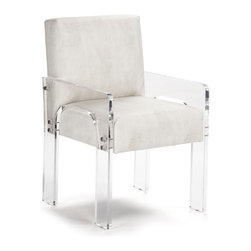 Kathy Kuo Home - Aniston Modern Art Deco Acrylic Arm Chair - Seating will become the coolest part of your modern loft the moment you bring home this art deco arm chair.  Soft ivory faux leather adds contrasting texture to the clear acrylic arms and legs of this piece. Place a pair of these in your living room and watch your guests beam as they sit in style.