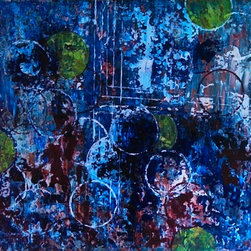Drift Beyond - Bubbles everywhere... Rich blues and burgundy, greens and white, that's what gives this painting depth and movement. It really looks like they are floating across this canvas. I used a palette knife and acrylic paint for texture and color.