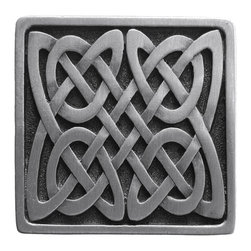 """Inviting Home - Celtic Isles Knob (antique pewter) - Hand-cast Celtic Isles Knob in antique pewter finish; 1-3/8""""W x 1-3/8""""H Product Specification: Made in the USA. Fine-art foundry hand-pours and hand finished hardware knobs and pulls using Old World methods. Lifetime guaranteed against flaws in craftsmanship. Exceptional clarity of details and depth of relief. All knobs and pulls are hand cast from solid fine pewter or solid bronze. The term antique refers to special methods of treating metal so there is contrast between relief and recessed areas. Knobs and Pulls are lacquered to protect the finish. Alternate finished are available."""