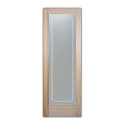 """Bathroom Doors - Glass Bathroom Door Frosted Obscure  Concave Overlap - CUSTOMIZE GLASS BATHROOM DOORS!  Quality frosted glass bathroom door designs YOU Customize to suit YOUR decor!  Obscure glass bathroom doors create obscurity thru art!  Ship for just $99 to most states, $159 to some East coast regions, custom packed and fully insured with a 1-4 day transit time.  Available any size, as bathroom door glass insert only or pre-installed in a door frame, with 8 wood types available.  ETA for obscure decorative glass bathroom doors will vary from 3-8 weeks depending on glass & door type.........Block the view, but brighten the look with a beautiful interior glass door featuring a custom frosted glass design by Sans Soucie!   Select from dozens of sandblast etched obscure glass designs!  Sans Soucie creates their bathroom glass door designs thru sandblasting the glass in different ways which create not only different effects, but different levels in price.  Choose from the highest quality and largest selection of frosted decorative glass interior doors available anywhere!   The """"same design, done different"""" - with no limit to design, there's something for every decor, regardless of style.  Inside our fun, easy to use online Glass and Door Designer at sanssoucie.com, you'll get instant pricing on everything as YOU customize your door and the glass, just the way YOU want it, to compliment and coordinate with your decor.  When you're all finished designing, you can place your order right there online!  Glass and doors ship worldwide, custom packed in-house, fully insured via UPS Freight.   Glass is sandblast frosted or etched and bathroom door designs are available in 3 effects:   Solid frost, 2D surface etched or 3D carved. Visit our site to learn more!"""