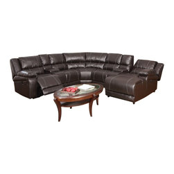 """Acme - 7 PC Zanthe Collection Espresso Bonded Leather Power Motion Sectional Sofa Set - 7-Piece Zanthe collection espresso bonded leather power motion sectional sofa with recliners , consoles and chaise. This set includes the LAF power recliner , 2 - consoles with cup holders and storage underneath arm rest, 2 - armless chairs, corner wedge and RAF reclining chaise. Sectional measures 107"""" x 107"""" x 38"""" D x 39"""" H x 60"""" Long chaise. Some assembly required."""