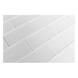 """Rocky Point Tile - Snow White 3"""" x 6"""" Glass Subway Tiles, 3"""" X 6"""" Sample - A cool bright white glass subway tile perfect for a kitchen or bathroom in need of a bright finish. These tiles come loose packed giving you the option to arrange them in the pattern of your choice. Each tile is back painted and has a high gloss finish."""