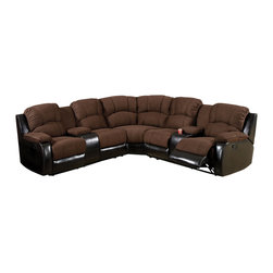 Furniture of America - Ransol Sectional Sofa with 2 End Recliners Upholstered in Elephant Skin Microfib - Transitional style sectional sofa in  brown & espresso.