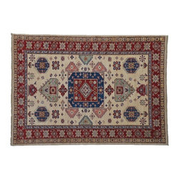 High Quality Kazak Rug, Geometric Design 100% Wool Hand Knotted 5'X6' Rug SH7980 - This collections consists of well known classical southwestern designs like Kazaks, Serapis, Herizs, Mamluks, Kilims, and Bokaras. These tribal motifs are very popular down in the South and especially out west.