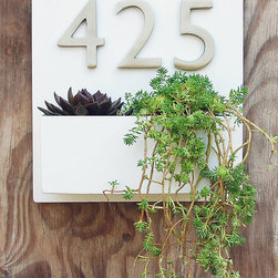 White Lacquer Wall Planter With 3 Satin Nickel Address Numbers by Urban Mettle - Don't forget the details! Display your address numbers by your front door (which just happens to be a part of your front porch) in the most unique way.
