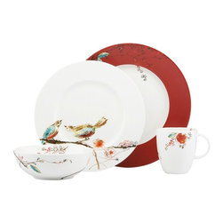 Lenox - Lenox Chirp Scarlet 4 Piece Place Setting - 824993 - Shop for Sets from Hayneedle.com! The Lenox Chirp Scarlet 4 Piece Place Settingwill look lovely on your dining room table. Each of the pieces is made of white bone china and is adorned with a bird and blossom motif in color-saturated strokes. The dinner plate adds an extra burst of color with its scarlet border. All of the pieces in the set are microwave- oven- freezer- and dishwasher-safe for practical everyday use. Set Includes: Dinner plate Accent plate Bowl Tea/coffee cupAbout Lenox CorporationLenox Corporation is an industry leader in premium tabletops giftware and collectibles. The company markets its products under the Lenox Dansk and Gorham brands propelled by a shared commitment to quality and design that makes the brands among the best known and respected in the industry. Collectively the three brands share 340 years of tabletop and giftware expertise.