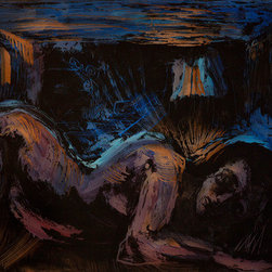 """In Bed"" (Original) By John Defeo - A Woman In Bed Lying Awake Gazes Into The Night."