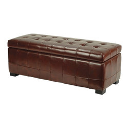Safavieh Furniture - Manhattan Leather Upholstered Bench in Cordov - Easy-to-open top. Leather with protective coating for stain resistance. Made from solid beech wood and leather. No assembly required. 48 in. W x 18 in. D x 18 in. H (60 lbs.)Fashionable bench serves as welcome storage space to any room