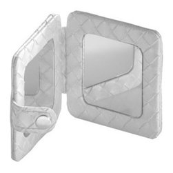 Gedy - Square Pocket Hand Mirror, Pearl White - Need a hand mirror? This one is a free standing contemporary & modern hand mirror that will fit perfectly into your contemporary bathroom.
