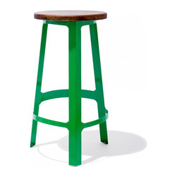 Industry West - Abode Bar Stool with a Wood Seat - Let's get down to basics: The Abode Stool is a total classic, no matter which way you slice it. Its steel legs are an homage to all things balanced and the wood seat keeps things earthy in the best way. Playful, pop, and familiar -- the Abode Stool is a perfect fit for any space.