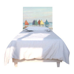 NOYO - Rainbow Fleet East Headboard, Twin - Don't toss and turn over  a boring headboard. Embrace a new concept in bedroom decor: A whole series of machine-washable slipcovers you can change at will. Tonight, a tranquil seascape; next week, whatever you dare to dream of!
