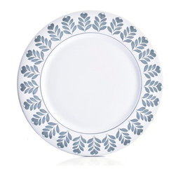 Amoretti Brothers - Amoretti Brothers Twigs Salad Plate, Set of 4 - Hand-painted around the rim in a classic Italian design style, these ceramic salad plates evoke images of big traditional family dinners that linger into the evening. The stonewashed blue on white is subtle and classy, but the hand-painting lends a folk charm that would make these plates right at home in a rustic kitchen.