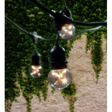 "Bulbrite - Bulbrite 810003 Clear String Light Pack of (15) Outdoor String Light - Bulbrite is a leading manufacturer and supplier of innovative, energy-efficient light source solutions. Founded nearly 40 years ago, Bulbrite is a family owned business renowned for its commitment to innovation, education and new technology. Bulbrite offers an extensive line of light bulbs and lamping options including LED, HID, CFL, Fluorescent, Halogen, Krypton/Xenon, Incandescent, and a broad range of specialty lamps. Stylish string light fixture is the perfect way to enhance any outdoor landscape. This 48  string is UL approved for outdoor use and features 15 medium (E26) base sockets. Able to string up to 4 sets together with a 1500 wattage max for the entire line Features:  Perfect for patio lighting, gazebos, porches, outdoor events, parties, and restaurants/bars Commercial grade UL rated string light can withstand the wear and tear of outdoor use Dimensions: Maximum Overall Length 48 ft. cord with 3 ft. spacing between each socket  Specifications:  Number of Bulbs: 15 Medium Base (E26), Globe bulbs (G16kt) Included Space between Bulbs: 36"" Bulb Base: Medium (E26) Bulb Type: Incandescent Wattage: 1500 Voltage: 120 Beam Spread: 360 Degrees Connect up to 4 string"