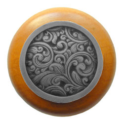 Classic Collection - Saddleworth Wood Knob in Antique Pewter/Maple