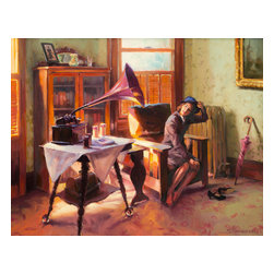 Steve Henderson Fine Art - Ending The Day on a Good Note Artwork -- Original Oil Painting - Original oil painting on panel, 24 inches high x 30 inches wide. With gold-colored wood frame, included with purchase, finished hanging size is 30 x 36. This is the original oil painting of a licensable work.