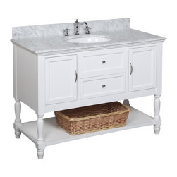 Kitchen Bath Collection - Beverly 48-in Bath Vanity (Carrara/White) - This bathroom vanity set by Kitchen Bath Collection includes a white cabinet with soft close drawers, Italian Carrara marble countertop, single undermount ceramic sink, pop-up drain, and P-trap. Order now and we will include the pictured three-hole faucet and a matching backsplash as a free gift! All vanities come fully assembled by the manufacturer, with countertop & sink pre-installed.