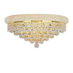 Worldwide Lighting - Empire 4 light Gold Finish with Clear Crystal Wall Sconce - This stunning 4-light wall sconce only uses the best quality material and workmanship ensuring a beautiful heirloom quality piece. Featuring a radiant gold finish and finely cut premium grade crystals with a lead content of 30%, this elegant wall sconce will give any room sparkle and glamour.