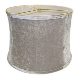 None - Round Ribbed Drum Grey Velvet Shade - Add luxurious elegance to any lamp with this striking velvet drum shade. This design features tapered sides and a lush grey color that is sure to pair well with existing decor. Measuring 13 inches in diameter, this design fits most table lamps.