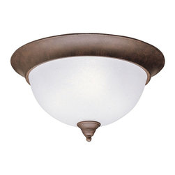 BUILDER - BUILDER Dover Transitional Flush Mount Ceiling Light X-ZT5608 - The warm undulating tones of the Tannery Bronze finish are accentuated by the crisp look of the etched seedy glass shade on this Kichler Lighting flush mount ceiling light from the Dover Collection.