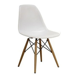 Fine Mod Imports - Woodleg Dining Chair White - The Woodleg Dining Chair is a truly comfortable chair, it has a high flexible back with good 'give' and a deep seat pocket supported by an elegant Wood/Wire Base. Material: White ABS Frame.