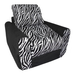 "Fun Furnishings - Fun Furnishings Zebra Chair Sleeper in Black/ White - What a great place to plop down and relax. Each bag come with a handy pocket to store the clicker or any other prized possession. The outer cover is removable for cleaning. The inner liner bag securely contains new fire retardant �beads"" and is refillable too. Cleaning the cover. We use only fine upholstery-grade fabrics that can take lots of use from kids. Our micro Suede's, denims and chenille's are all washable."