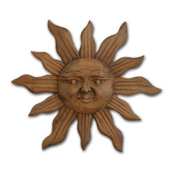 Handcarved Wood Sun Wall Art - 32 diam