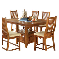 Steve Silver Furniture - Steve Silver Tulsa Counter Height Table with Leaf - The Tulsa Dining table provides a perfect solution to farmhouse dining with clean, classic lines. This table has a 16 Inch self storing butterfly leaf and a functional storage base.