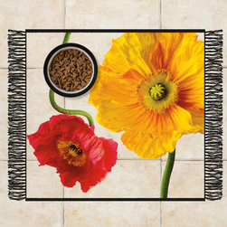 Sniff It Out Designer Pet Mats - Poppies Pet Food Mat, Small - Premium-quality clear vinyl mats uniquely designed to resemble beautiful art painted directly onto your floor. The smoothness of the vinyl allows for easy cleanup and lays perfectly flat. Sniff It Out Pet Mats make great gifts and will be a conversation piece that your friends and family won't stop talking about. Made in the USA.