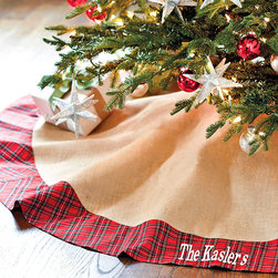 Ballard Designs - Suzanne Kasler Burlap & Red Plaid Tree Skirt - Dry clean. Imported. You'll look forward to rediscovering this Tree Skirt year after year. Suzanne Kasler blends traditional red tartan plaid with natural burlap for this fresh take on a classic holiday tree skirt. Hand finished with matching burlap ties. Tree skirt is unlined.SK Burlap & Red Plaid Tree Skirt features:  .  *Monogramming available for an additional charge.*Allow 3 to 5 days for monogramming plus shipping time.*Please note that personalized items are non-returnable.