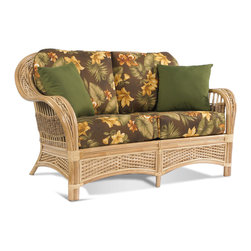 Rattan Loveseat: Tropical Breeze - Tropical Breeze Rattan Loveseat: