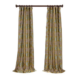 """Exclusive Fabrics & Furnishings, LLC - Borneo Blue Jacquard Curtain - 100% Polyester. 3"""" Pole Pocket. Lined. Imported. Dry Clean Only."""