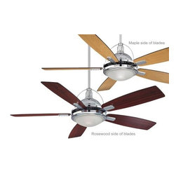 Savoy House - Savoy House Shasta Ceiling Fan in Chrome - Savoy House Shasta Model SV-54-220-5RV-CH in Chrome with Reversible Rosewood/Walnut Finished Blades.