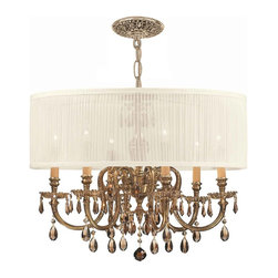 Crystorama - Crystorama Novella 1 Tier Chandelier in Olde Brass - Shown in picture: Ornate Cast Brass Chandelier Accented with Golden Teak Hand Cut Crystal & Antique White Shade; The Brentwood Collection from Crystorama offers a nice mix of traditional lighting designs with large tailored encompassing shades. Adding either the Harvest Gold or the Antique White shade to these best selling skus opens the door to endless possibilities.