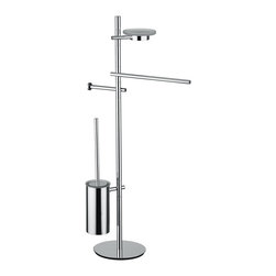 """WS Bath Collections - WS Bath Collections Bloom 2803 Bathroom Accessory Stand - Bloom 2803, 15.4"""" x 9.1"""" x 36.2"""", Bathroom Accessory Stand with Towel Bar, Soap Dish, Toilet Paper Holder and Toilet Brush Holder in Polished Chrome"""