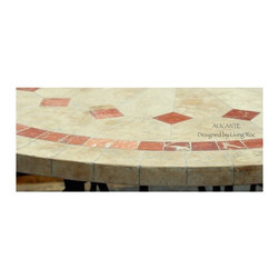 "ALICANTE 49"" & 63"" ROUND MARBLE MOSAIC STONE GARDEN PATIO TABLE - Reference: OT901 + OTB2-12"
