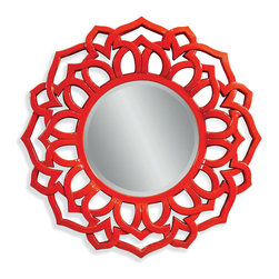 Bassett Mirror - Bassett Mirror Haiku Wall Mirror - Add some zing to your interior with this Chinese red frame. The intricate, Asian-inspired pattern is sure to stand out in your entryway or living room.