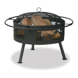 """Fire Features - Create your own endless summer with our 21.6"""" wide Aged Bronze Firebowl. Kick back and prop your feet on the convenient encircling foot rest. An easily removable heavy gauge spark guard is included for safety. The charming decorative leaf design will delight you."""