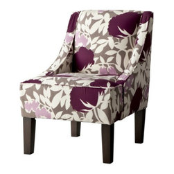 Swoop Upholstered Slipper Chair, Lavendar Floral - Oh man, I think I need to incorporate purple into my living room color scheme now.