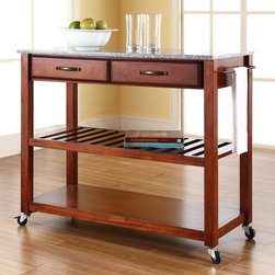 "Crosley - Kitchen Cart with Granite Top - Constructed of solid hardwood and wood veneers, this mobile kitchen cart is designed for longevity. The handsome raised panel drawer fronts provide the ultimate in style to dress up any culinary space. Two deep drawers are great for holding essential items, such as utensils or storage containers. The adjustable/removable shelf is great for appliances. Remove the shelf completely to allow for storing larger objects. The heavy duty casters provide the ultimate in mobility. Style, function, and quality make this mobile solution a wise addition to your home. Features: -Solid granite top.-Raised panel drawer fronts.-Adjustable and removable shelf.-Towel bar.-Heavy duty caster for mobility.-Product Type: Kitchen cart.-Counter Finish: Granite.-Hardware Finish (Frame Finish: Black): Brushed Nickel.-Hardware Finish (Frame Finish: Cherry): Antique Brass.-Hardware Finish (Frame Finish: White): Brushed Nickel.-Distressed: No.-Powder Coated Finish: No.-Gloss Finish: No.-Base Material: Hardwood and veneers.-Hardware Material: Steel.-Solid Wood Construction: No.-Exterior Shelves: Yes -Number of Exterior Shelves: 1.-Adjustable Exterior Shelving: No..-Drawers Included: Yes -Number of Drawers: 2.-Push Through Drawer: No.-Dovetail Joints: No.-Drawer Dividers: No.-Drawer Handle Design: Handle.-Silverware Tray : No..-Cabinets Included: No.-Towel Rack: Yes -Removable Towel Rack: No..-Pot Rack: No.-Spice Rack: No.-Cutting Board: No.-Drop Leaf: No.-Drain Groove: No.-Trash Bin Compartment: No.-Stools Included: No.-Casters: Yes -Locking Casters: No.-Removable Casters: No..-Wine Rack: No.-Stemware Rack: No.-Cart Handles: No.-Swatch Available: No.-Commercial Use: No.-Recycled Content: No.-Eco-Friendly: No.-Product Care: Use a soft clean cloth that will not scratch the surface when dusting. Use of furniture polish is not necessary. Should you choose to use a furniture polish, test in an inconspicuous area first. Use of solvents of any kind could damage your furniture's finish. To clean, simply use a soft cloth moistened with lukewarm water, then buff with a dry soft clean cloth..Specifications: -ISTA 3A Certified: Yes.Dimensions: -Overall Height - Top to Bottom: 35"".-Overall Width - Side to Side: 41"".-Overall Depth - Front to Back: 17"".-Width Without Side Attachments: 35"".-Height Without Casters: 32.25"".-Countertop Thickness: 1"".-Countertop Width - Side to Side: 41"".-Countertop Depth - Front to Back: 17"".-Shelving: -Shelf Height - Top to Bottom: 12.25"".-Shelf Width - Side to Side: 37.5"".-Shelf Depth - Front to Back: 17""..-Drawer: -Drawer Interior Height - Top to Bottom: 2.5"".-Drawer Interior Width - Side to Side: 15.75"".-Drawer Interior Depth - Front to Back: 11.5""..-Overall Product Weight: 70 lbs.Assembly: -Assembly Required: Yes.-Tools Needed: Screwdriver (not included) and allen wrench (included).-Additional Parts Required: No.Warranty: -Product Warranty: 90 day limited warranty."