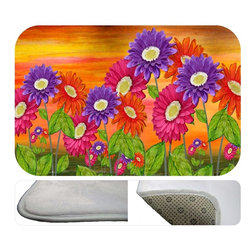 """usa - Daisey Fields Bath Mat,  20"""" X 15"""" - Bath mats from my original art and designs. Super soft plush fabric with a non skid backing. Eco friendly water base dyes that will not fade or alter the texture of the fabric. Washable 100 % polyester and mold resistant. Great for the bath room or anywhere in the home. At 1/2 inch thick our mats are softer and more plush than the typical comfort mats. Your toes will love you."""