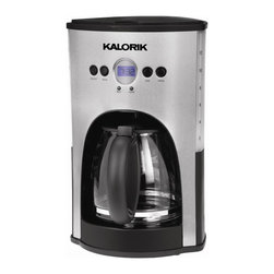 Kalorik - Programmable Stainless Steel 12-Cup Coffee Maker in Black - 12-cup capacity (60 Oz., 1.8 liters). Fully programmable with digital timer and LCD display. Blue Backlit Display . 9 in. L x 9.5 in. W x 14.5 in. (5 lbs)This gorgeous 12-cup stainless steel coffee maker has not only a programmable clock/timer but also a 2-hour shutoff system that will turn the coffee maker off in case you forgot it. In addition, the sleek coffee maker offers an automatic 'pause 'n serve' function and has a nonstick keep-hot plate so that your coffee will always be fresh and warm. Features are the drip-free carafe, the transparent water tank and a blue backlit display.