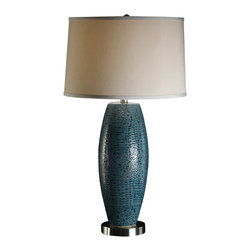 "Crestview - Crestview CVAP1348 Melrose Blue Table Lamp - Melrose Blue Table Lamp Ceramic Lamp in Turquoise Blue Pearlized Finish (15x16x10"" whisper Gray Hardback Shade) 3-way 150w max wattage bulb 28.75"" Ht."