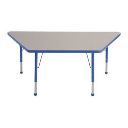 ECR4KIDS - ECR4KIDS 30 inch x 60 inch Trapezoid Adjustable Activity Table - ELR-14119-GRD-T - Shop for Childrens Tables from Hayneedle.com! Perfectly shaped for partner work and dual instruction the Early Childhood Resources Trapezoid Adjustable Activity Table will make a smart addition to your classroom or daycare. It seats up to three kids so it's perfect for small group projects. The trapezoid tabletop features smooth rounded corners with bright edge banding available in a range of colors. The recycled particleboard table is laminated on both sides which gives you a stain-resistant and easy-to-clean surface. This safe non-toxic activity table will not fade or discolor. The adjustable metal legs are powder-coated on top and chrome-plated on the bottom with matching ball glides for feet. The table can also be adjusted in height to fit children of a specific age or grade. The table adjusts 15-23 inches or adjusts 19-30 inches high. Both table options carry a seven-year manufacturer's warranty. Chairs are sold separately. Adult assembly is required. Tabletop Details: Gray laminate tabletop is laminated on both sides and measures 1.125 inches thick. Table substructure is made from medium-density particleboard that is at least 90% recycled (minimum 4% post-consumer balance pre-consumer). Bright color banding is available in a variety of popular classroom colors. Color banding grips into the tabletop edges and is pinned in place every 6-8 inches with recessed nails to ensure that the banding remains firmly in place. Color banding is made from PET and contains no phthalates. Rounded corners for extra safety. EPP certified CARB compliant and may contribute to U.S. Green Building Council's LEED Credits MR 4.1 and 4.2. Leg Details: Durable powder-coated paint on upper leg. Color matches the banding. Chrome-plated adjustable lower leg insert. Legs are adjustable in 1-inch increments Threaded adjustment holes in lower leg keep legs securely in place. Color-coordinated polypro