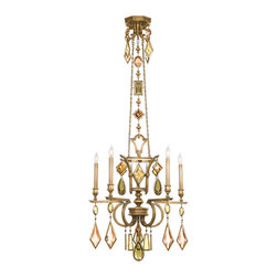 Fine Art Lamps - Encased Multi-colored Gems Chandelier, 719540-1ST - This chandelier dazzles like fine jewelry. The heirloom-like five-arm body and central tower are finished in variegated gold leaf and drips head-to-toe in clear or multicolored encased crystal gems. It's a brilliant way to add sparkle and polish to your room.