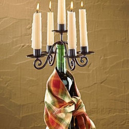 Village Metal Wine Bottle Candelabra for 5 Candles, Home Decor - This fantastic new idea in home decor is the latest decorating rage.