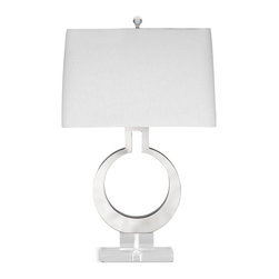 Bassett Mirror - Bassett Mirror Rialto Table Lamp - Innovative design and sharp, clean lines combine in the Rialto Table Lamp. Its textured white rectangular shade, acylic base and crystal finial highlight its open chrome keyhole design. Pair it with contemporary decor for a sleek, artful look. Requires 60 watts or less, bulbs not included.